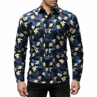 Men's Flower Floral Print Dress Shirts Blouse Slim Fit Casual Long Sleeve Shirts