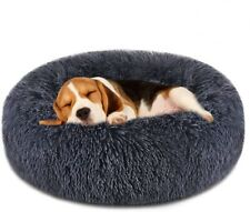 Pet Bed Luxury Shag Fur Round Donut Pad Warm Fluffy Cat Dog Bed Nest Pillow Cudd