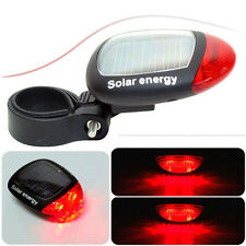 2 LED Solar Powered Cycling Bike Bicycle Tail Rear Light Red Taillight Back Lamp