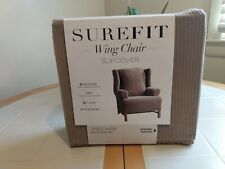 Sure Fit Stretch Suede Wing Chair Slipcover in Beach House Tan Color