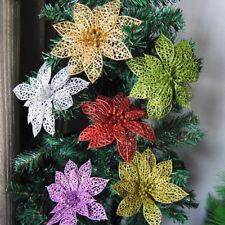 5/10x Glitter Hollow Christmas Flowers Xmas Tree Decorations Wedding Party Decor