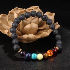 7 Chakra Healing Balance Bracelet Gemstone Lava Meditation Yoga Energy Beads