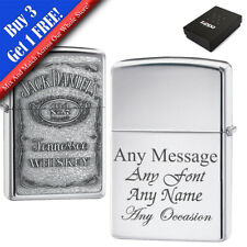 More details for personalised engraved polished chrome jack daniels zippo, official zippo lighter