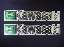 3D green / white / chrome KAWASAKI stickers decal - set of 2 pieces