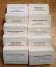 10 bath Bars Handmade Soap Coconut Oil Unscented Simple All Natural