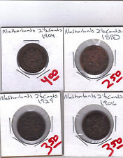 From Show Inv. - 4 OLDER 2 1/2 CENT COINS..the NETHERLANDS..1880/1904/1906/1929