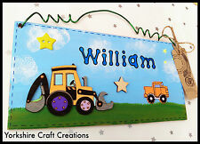 Yellow JCB Digger Truck Wooden Door Sign Child's Bedroom Personalised with Name