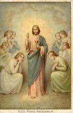 ANTIQUE CARD ECCE PANIS ANGELORUM JESUS CHALICE