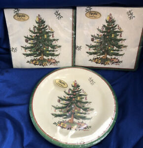SPODE CHRISTMAS TREE 8 PAPER PLASTIC COATED PLATES & 32 3-PLY LUNCH NAPKINS NEW