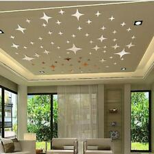 30Pc Fashion Stars Sky Mirror Stickers Wall Ceiling Decals Home Decor Silver