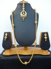 22K Gold Plated 12'' Long Indian Traditional Wedding Bridal Ethnic Necklace ///