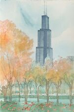"Chicago ""Sky Scraper"" Sears/Willis Tower - William Benecke - Original Watercolor"