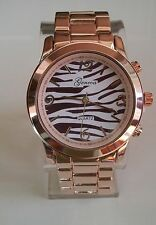 Designer  Geneva bracelet Rose Gold/Zebra Print  fashion boyfriend heavy watch