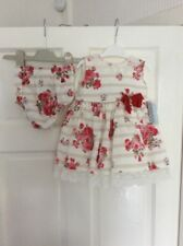 NWT - Baby Girl's MAC ILUSION White&Stone Stripes/Red Floral Dress & Pants 18mth