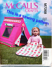 """MCCALL'S SEWING PATTERN 7268 46CM/18"""" COLLAPSIBLE TENT & DOLLS' SLEEPING BAG"""
