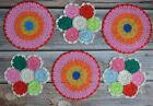 Set 6 Crochet Round Rainbow Doilies Lot in bulk Wedding Table Runners