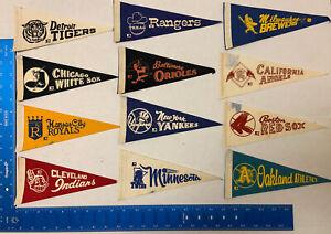 Vintage lot (12) Major League Baseball Mini Pennants