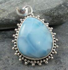 925 Silver Genuine BLUE LARIMAR Pendant P883~Silverwave*uk Jewellery