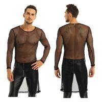 Herren Lange Langarm Unterhemd Mesh Transparent T-Shirt Top Clubwear mit Schlitz