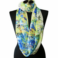 Sheer Spring Watercolor Yellow Blue White Floral Viscose Infinity  Chiffon Scarf