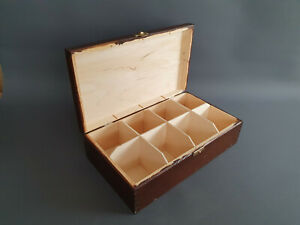 Wooden Handmade BROWN Tea Bags 8 Dividers Storage Box Kitchen Lid Hasp Hinges