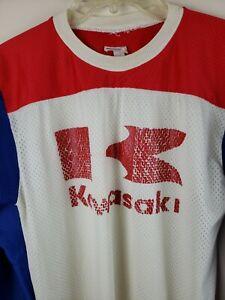 Kawasaki Motocross Jersey Size Medium Long Sleeve racing mesh Vintage USA