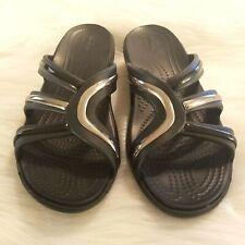 Crocs Dual Comfort Women 9 Black Silver Slide Sandals Wedge Strappy Slip On 1662