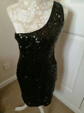 Black Sequin Lined, Stretchy, One Shoulder Short Mini,side Lace Detail, Dress...