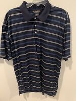 Men's BROOKS BROTHERS Performance Knit Polo Shirt Navy Striped Large EUC