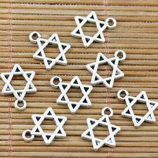 40pcs tibetan silver plated  Jewish star of David design charms EF2336
