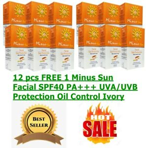 12 pcs FREE 1 Minus Sun Facial SPF40 PA+++ UVA/UVB Protection Oil Control Ivory