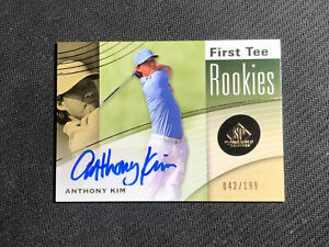 2012 UPPER DECK SP GAME USED ANTHONY KIM ROOKIE FIRST TEE AUTO #ed 42/199