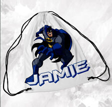 Personalised Drawstring Bag Any Name Batman Swimming School Nursery PE