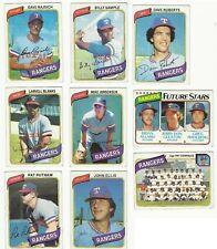 VINTAGE 1980 TOPPS MAJOR LEAGUE BASEBALL CARDS – TEXAS RANGERS – MLB