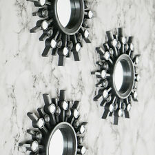 3pc Antique Silver Sunburst Wall Mirrors Round Hanging Wall Art Mirror Decor