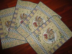 FRANCO ROOSTER BLUE GRAY PINK CHECKS FLORAL (4) PLACEMATS 19 X 13 COUNTRY