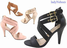 NEW Women's Ankle Strap Buckle Strappy High Heel  Sandal Shoes size 6 - 11