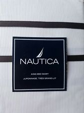 New Nautica Boston Off White Brown King Bed Skirt