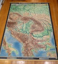 Vintage cloth map Eastern Europe Haack Denoyer physical school wall HUGE chart