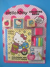 HELLO KITTY Coloring & Activity Book,3 Wooden Stamps,4 Markers,Ink Pad Pkg New!