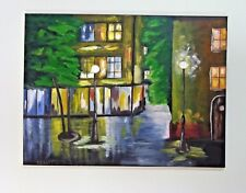 Original Oil Painting on Canvase City Scape Abstract 24 x 18 Unframed Signed