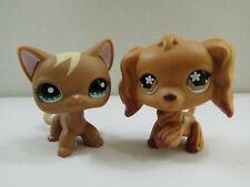 2pcs Kid Toy Cocker LPS Brown Spaniel Dog Littlest Pet Shop Short Hair Cat
