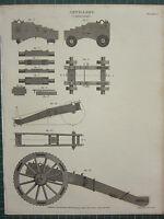 1808 Datato Antico Stampa ~ Artiglieria Carrozze Sezione