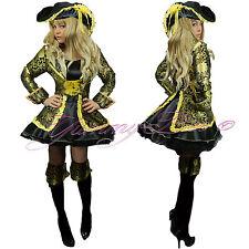 Pirate Costume Women Adult Fancy Dress Caribbean Captain Halloween Size 6-18 UK