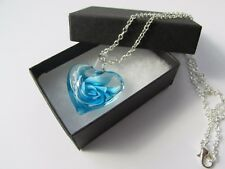 Turquoise Blue Lampwork Glass Heart Flower Pendant Chain Necklace - Boxed Gift