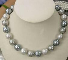 8mm Elegant white Silver Gray Shell Pearl Necklace 18 inches AAA