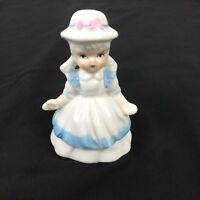 Vintage Genuine Porcelain Girl Dinner Bell W/ Bonnet Blue Trim Pink Bow
