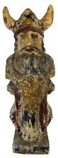 """Old 42"""" Viking Visigoth Warrior Carved Wood Painted Boat Ship Figurehead Statue"""