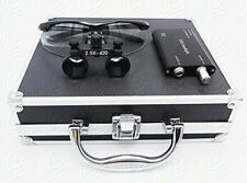 Dental Surgical 2.5X420mm Binocular Loupes + LED Headlight + Aluminum Box Black