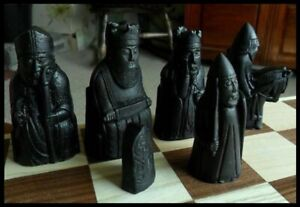 A black isle of Lewis Chess set of chessmen game pieces fabulous & full size